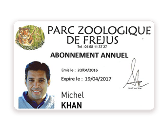 Membership passes for a Zoo printed with Badgy