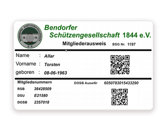Membership card with qr code for a shooting club printed with Badgy
