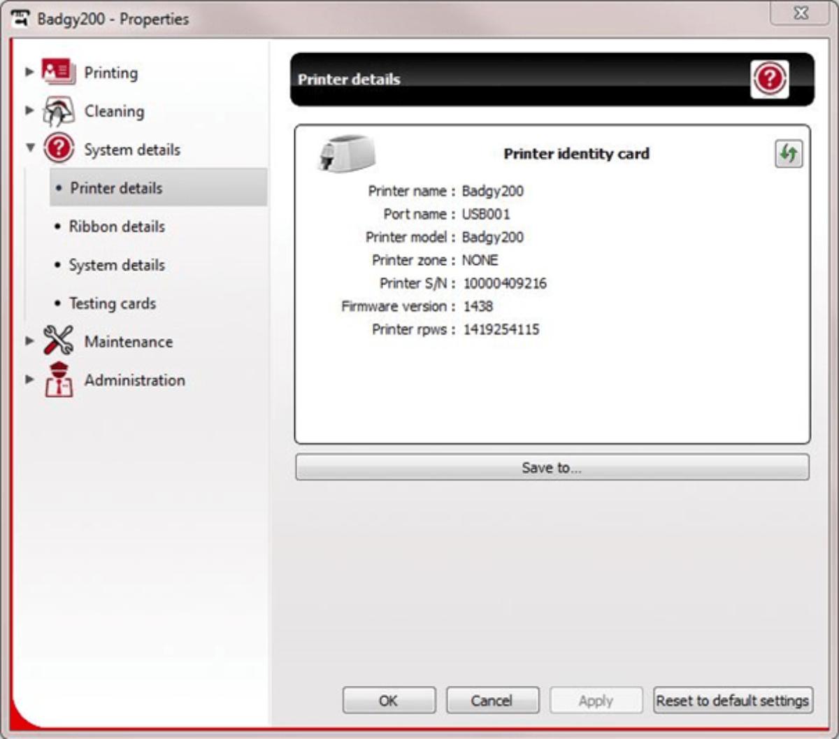 Badgy firmware identification via the Print Center