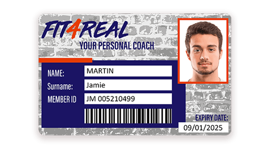 Sport membership card with barcode printed with Badgy